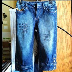 MAS Fashion Jeans Capri Denim w/ Button Cuffs Sz 4